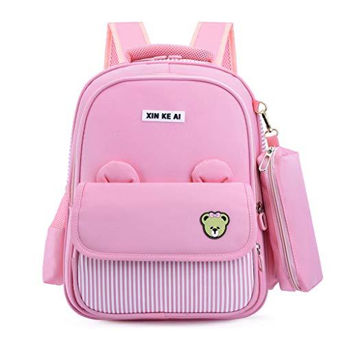 mochilas escolares lindas para niños niñas Niños escuela primaria, 6-12 años 1-6 clase Estudiantes impermeables y livianos Mochila escolar de viaje de dibujos animados para mujeres (Pink,DL)