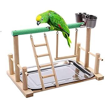 Schildeng B Centre d'activités pour oiseaux avec cage à oiseaux avec échelle pour perchoir et échelle