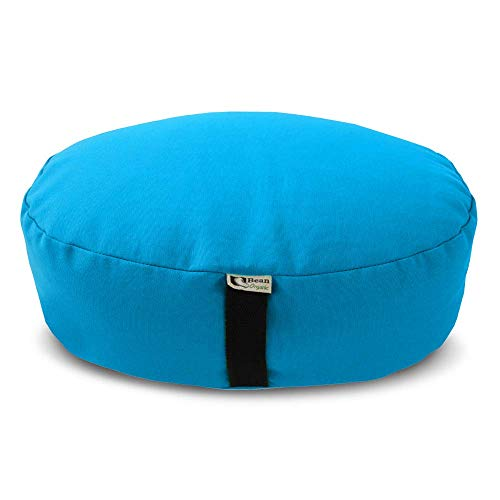 Bean Products Zafu Meditation Cushion, Oval, Cotton Aqua - Filled with Organic Buckwheat