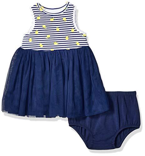 Little Me Vestido de Malla para niña con Vestido de niña, Marino, 18 Meses
