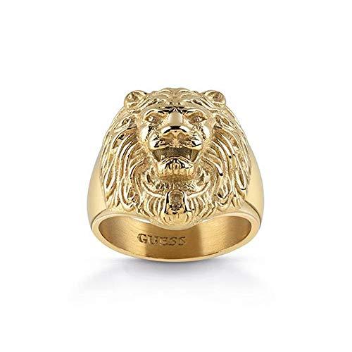 Guess, anello a forma di testa di leone, da uomo, in acciaio inox, placcato oro e Acciaio inossidabile, 24, cod. UMR78001-64