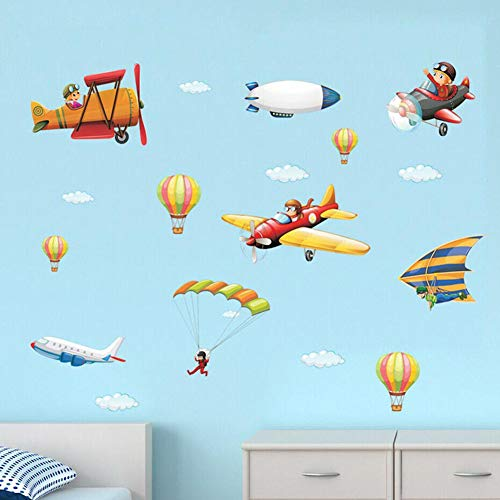 Watercolor Cartoon Airplane Wall Decals, Boy Pilot Clouds Hot Air Balloon Wall Stickers, Colorful Vintage Aircrafts Murals, Biplane Wallpaper for Children Kids Boys Baby Nursery Playroom Bedroom Decor
