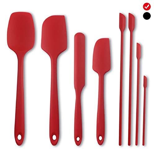 Espátula de silicona para cocina,8 espátulas de silicona que incluyen 4 espátulas pequeñas de silicona,utensilios de cocina y para hornear,resistente al calor,no tóxico,antiadherente (rojo)