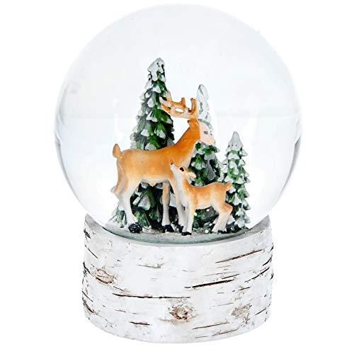 MASK & CO Gisela Graham Large Musical Christmas Winter Snow Globe Reindeer & Fawn Plays Jingle Bells