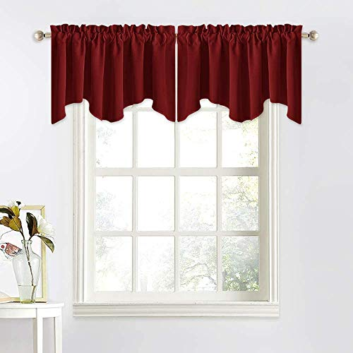 NICETOWN Blackout Scalloped Valance - Elegant 52 inches by 18 inches Blackout Tier Valance Curtain for Living Room Decor (Burgundy Red, 1 Pack)