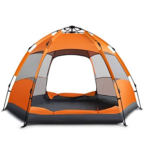 Tent Verbesserte Schnell Öffnen Automatische mongolisches Zelt 3-5/5-7 Person Anti UV Getrennt Dual Layer Wasserdichtes Hexagonal Jurte Camping-Zelt (Color : 3 5 Person Blue)