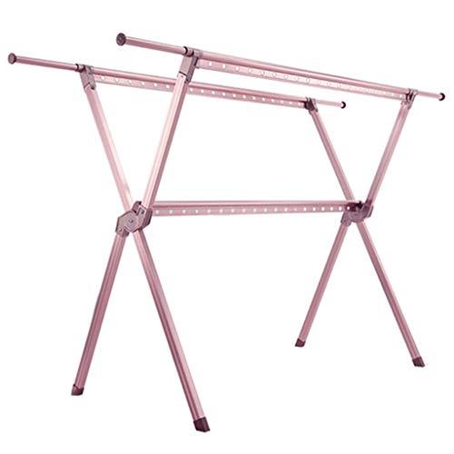 DXMRWJ Estante de Secado de Ropa, Toallero Plegable para Piso Interior, Estante de Zapatos telescópico para balcón, Percha de Material de Aluminio para Sala de Estar, Durable (Color: Rosa, Tamaño: