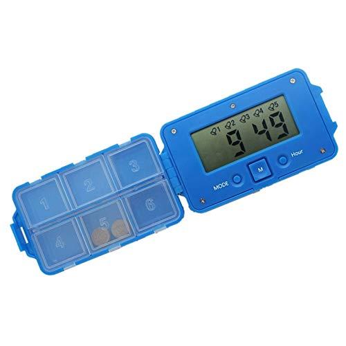 LucaSng Daily 6 Times Tablets Pill Box Medicine Pill Case Organizer Led Timer Reminder Storage Pill Dispenser Alarm Clock 6 Grids