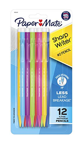 Paper Mate SharpWriter Mechanical Pencils, 0.7mm, HB #2, Assorted Colors, 12 Count