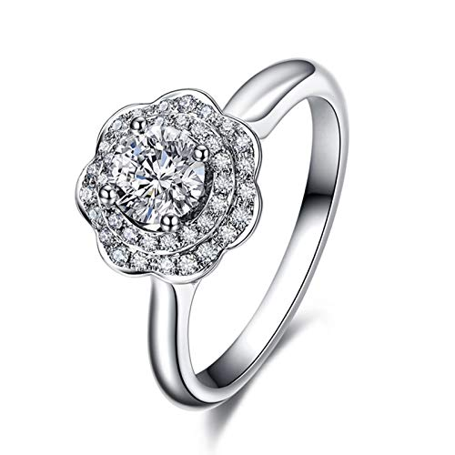 Ubestlove Dainty Gold Rings For Women Promise Rings For Women Engraved Flower 0.3Ct Diamond Ring V 1/2