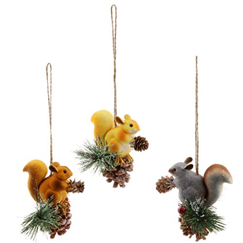 Fenteer 3pcs Animaux Artificiel Suspendu Écureuil Figurines