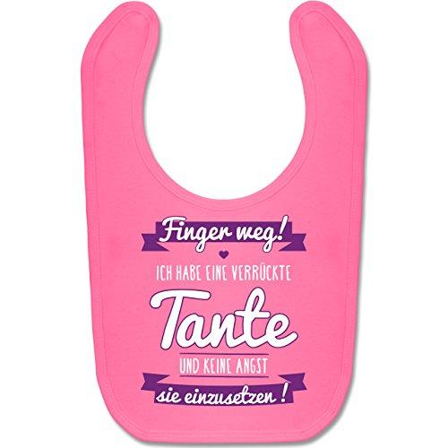Shirtracer Sprüche Baby - Ich habe eine verrückte Tante Lila - Unisize - Pink - 1 jahr geburtstag mädchen - BZ12 - Baby Lätzchen Baumwolle