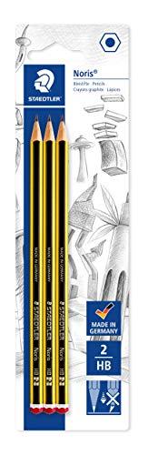 Staedtler Noris 120-2BK3DA. Lápices de Madera Certificada. Pack con Tres Lapiceros de Grafito HB