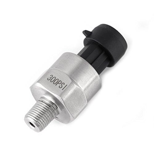 Mugast Capteur émetteur de transducteur de pression 1 / 8NPT, acier inoxydable 30 psi / 100 psi / 150 psi / 200 psi / 300 psi / 500 psi pour le gazole, gazole, air, gaz(300 PSI)