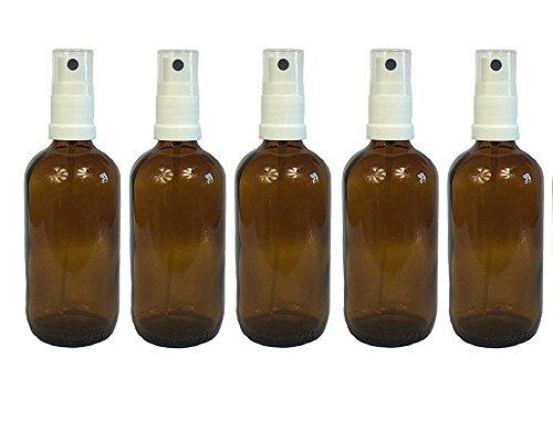 Apotheker-Sprühflasche aus Braunglas Zerstäubereffekt 5 teilig | inkl. 5 Etiketten zum Beschriften | Füllmenge 100 ml | Fingerzerstäuber Sprühflaschen Glasflaschen Parfümzerstäuber Made in Germany