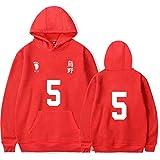 Haikyuu Hoodie Damen Volleyball Club VBC High School Cosplay Kostüm Herren Karasuno Team Uniform Tops Sweatshirt Pullover für Damen Herren Gr. Medium, No.05 Anime Karasuno Hoodie rot