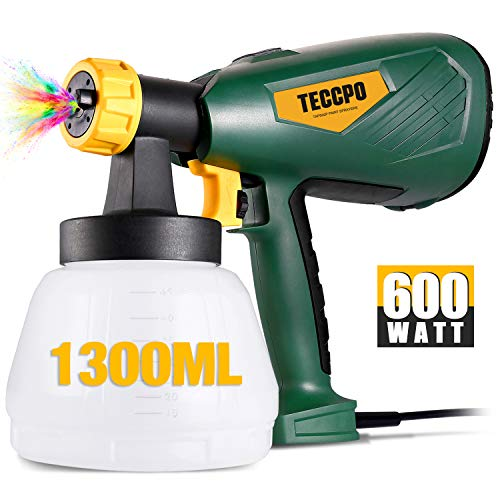 Electric Paint Sprayer 500 Watts Up to 100 DIN-s, TECCPO Spray Gun with 800ml/min HVLP, 1300ml Detachable Container, 3 Copper Nozzles & 3 Spray Patterns, Adjustable Volume Dial for Gardening & Crafts