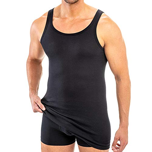 HERMKO 3007 extralanges Herren Unterhemd (+10 cm) Tank Top aus 100% Bio Baumwolle Größe 4-12, Größe:D 6 = EU L, Farbe:schwarz