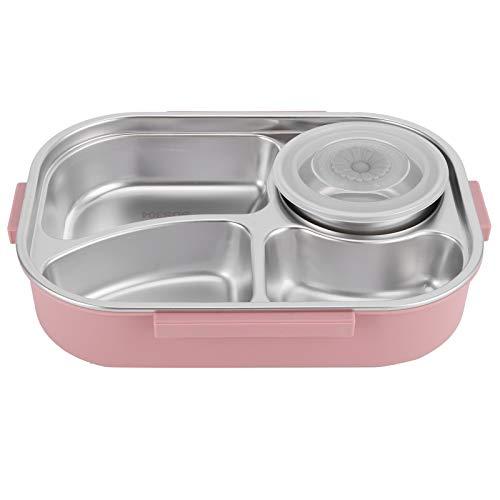 OIHODFHB Fiambrera de acero inoxidable, 4 rejillas, portátil, contenedor de almacenamiento de alimentos para estudiantes adultos, 4 rejillas con tazón de sopa, color rosa