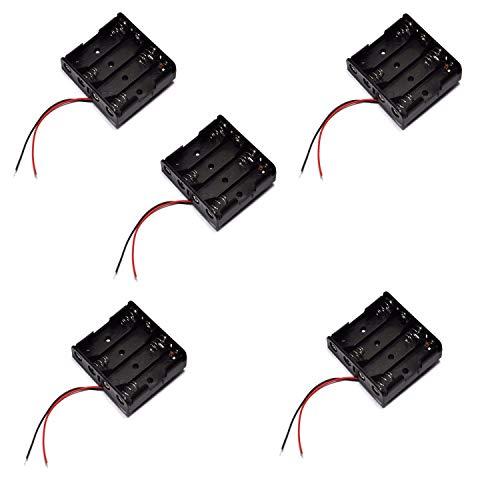 5X Portapilas 4 Pilas 6v Caja de batería para 4 Pilas AA 6V