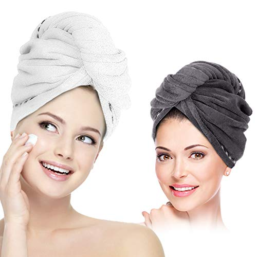 Hair Towel Wrap Turban Microfiber Hair Drying Towels, 2 Pack Twist Head Towel with Button, Quick Dry Super Absorbent Anti-Frizz for Women Girls Long & Curly Hair