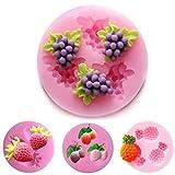 4 Stück Obst-Silikon-Kuchenformen, Fondant, Seife, Traube, Kirsche, Ananas, Erdbeerform, Dessert,...