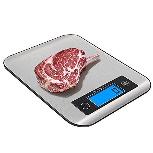 Bilancia Cucina Digitale 10kg, RedMiter Bilancia Elettronica da Cucina Professionale con Precisione di 1 Grammi, Controllo Touch, Dimensioni 21.5x16x1.4 cm, per Pesare Cucinando, Garanzia 15 Anni