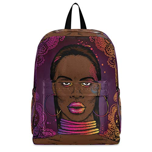 Lightweight Bookbag Travel Laptop Backpack - African Woman Computer Bag for Women Men Camping Hiking Biking Cycling Fits up to 15.6 Inch Laptop