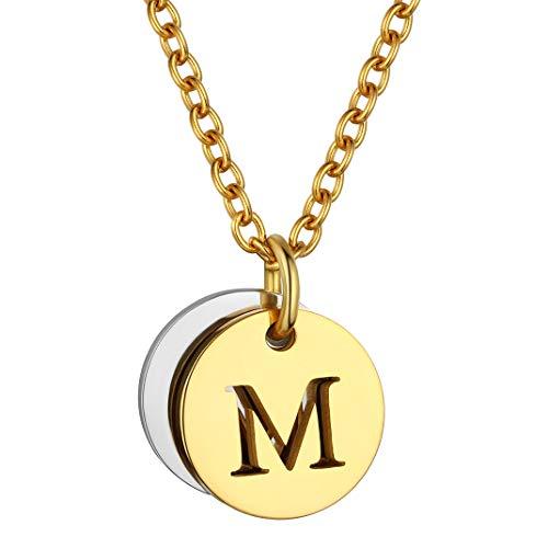 GoldChic Jewelry 26 Inicial Dorado Personalizable Colgante Dos Moneda de Oro baño Letra M Acabado en Ajustable Collar Acero Inoxidable Mujer Hombre Gratis Caja de Regalo