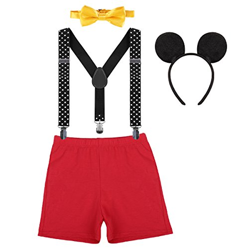 Baby Boy 1st Birthday Cake Smash Outfits Party Suspenders Diaper Nappy Cover Bow Tie Mouse Headband 3pcs Clothes Set Red