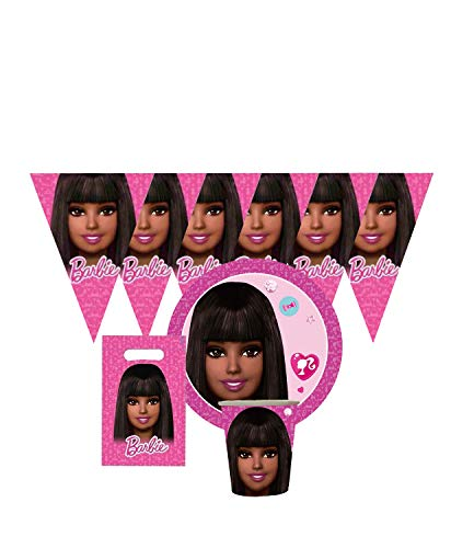 pink party supplies, pink Black Barbie party supplies 51pcs, girl cake, party decoration, girl ballons, sparkle, glitter girl, glam birthday, banner, bows, unicorn girl theme party, dream house, barbie ballons, barbie party supplies banner