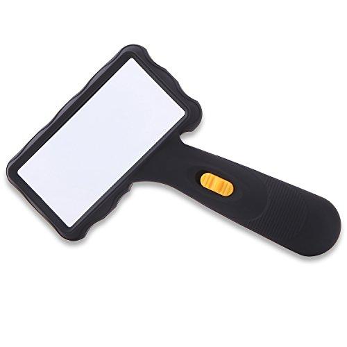 Beleuchtet Griff Lupe Lupe zum Lesen mit hellen LED-Lichter, einfach zu lagern/Carry, rechteckig, große Linse für Lesung Kleine Prints & Low Vision