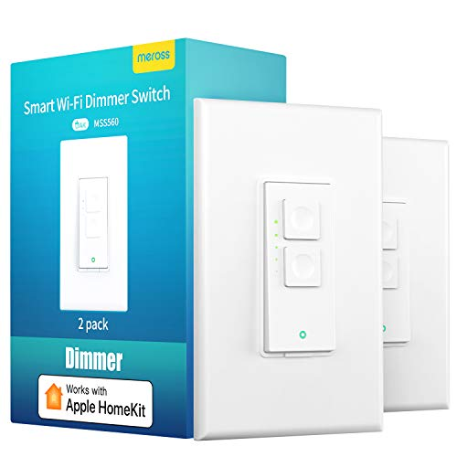 meross Smart Dimmer Switch Single Pole Supports Apple Homekit, Alexa Google Assistant & SmartThings, 2.4Ghz WiFi Light Switch for Dimmable LED, Neutral Wire Required, Remote Control Schedule, 2 Pack