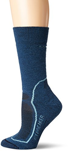 icebreaker Damen Wandersocken Hike+ Light Crew, PRUSSIAN BLUE/Waterfall/Midnight Navy, L, IBND14401
