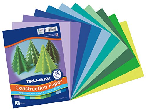 Heavyweight Construction Paper, Cool Assorted Colors