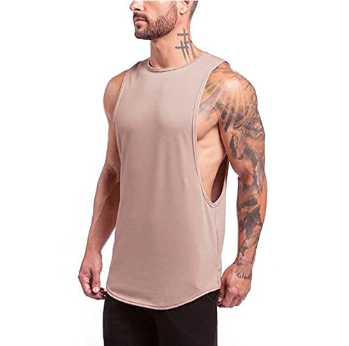 Gym Stringer Clothing Bodybuilding Tank Top Hombres Fitness Singlet Camisa sin Mangas Algodón sólido Chaleco Muscular Camiseta Interior - Caqui, L