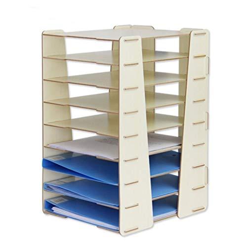 Ablagesystem für den Schreibtisch Creative Desktop Mehrschichtiges stapelbares Aktenregal Platzsparendes Aktenregal Büromaterial Ordner-Ablagesysteme (Color : White)