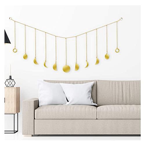 Maanfase Garland met kettingen wanddecoratie, originele Boho goud glanzende muur opknoping Art Room Decor voor bruiloft…