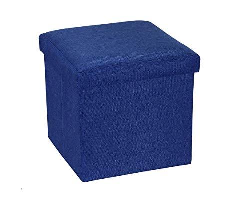 Ducomi Puf plegable cubo reposapiés, contenedor, baúl, contenedor para juegos, sillón contenedor para salón, diseño italiano (Oxford, azul)