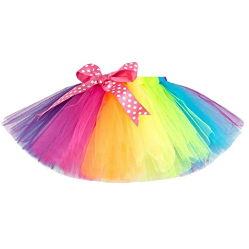 Falda del Tutu para Niña,SHOBDW Niños Tutu Tulle Fluffy Pettiskirt Regalos de Cumpleaños Fiesta Baile Niños Regalo de Cumpleaños Rainbow Rainbow Performance Mini Falda de Ballet