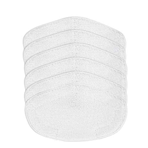 Home Cleaning - Juego de 6 almohadillas de microfibra lavables, repuesto para fregona de vapor Polti Kit vaporetto (color blanco: blanco)