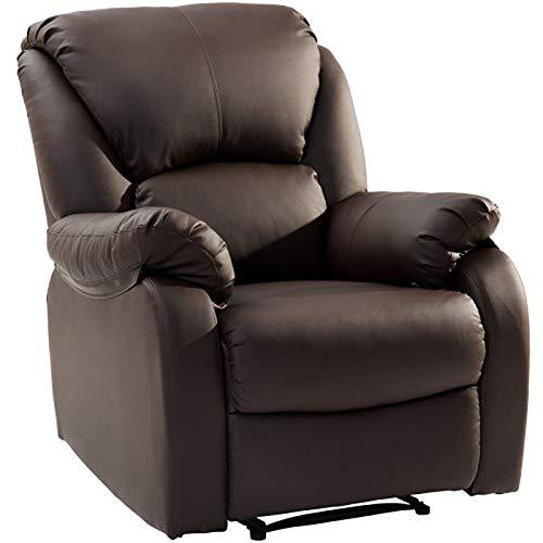 JGONas Sillón reclinable de piel sintética, asiento acolchado, sofá de esponja suave, reposapiés ajustable y función reclinable para el hogar, salón, color marrón