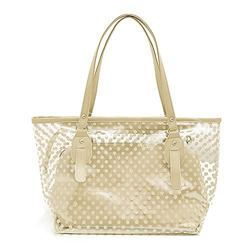 QUQU Damenhandtasche Transparente Strandtasche Pvc Kunststoff Umhängetasche Kosmetiktasche Zweiteiliger Anzug Geeignet Für Reisen Spielen Freizeit Und Einkaufen Cremeweiß