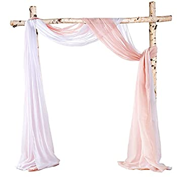 HOMEIDEAS Sheer Window Scarfs 30 x 216 Inches Long Sheer Valance Scarf Wedding Arch Drapes Scarf Curtains Voile Sheer Scarf Valance Window Treatment Swags Drapes For Living Room,White & Blush,Set Of 2