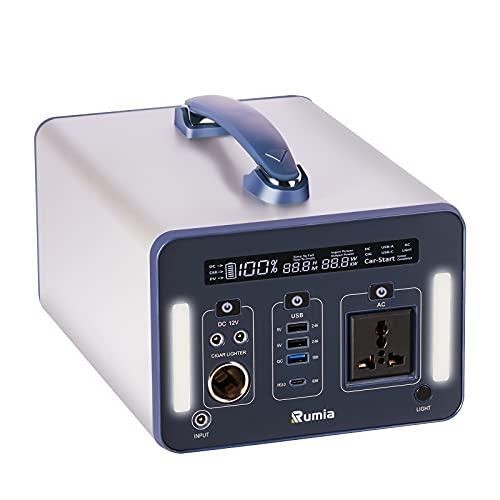 1000 Wh/270000 mAh Rumia Tragbare Powerstation, 230V AC, 2 DC-Port, 3 USB, QC 3.0 und USB Typ C Mobiler Energiespeicher Solar Generator Lithium Ionen Power Station für Reise Camping Emergency