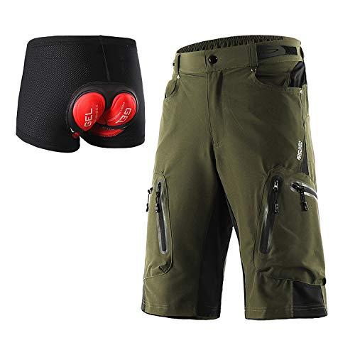 ARSUXEO - Pantaloncini da ciclismo da uomo, vestibilità larga, pantaloncini da mountain bike, impermeabili, pantaloncini per sport outdoor, 1202, Uomo, Verde militare con imbottitura, L