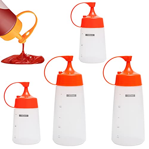 N\O 4 Pezzi Bottiglia da Spremere di Plastica 180ml & 300ml Flacone da Spremere Trasparente per Olio D'oliva, Salsa al Peperoncino, Salsa di Pomodoro, Condimento per Insalata, Maionese, ECC