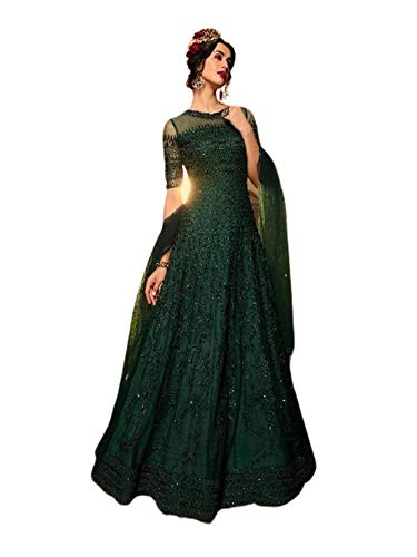 GREEN listo para usar diseñador pesado nupcial india neto nupcial vestido de...