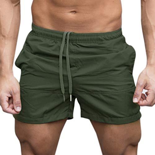Gym Shorts für Herren, Skxinn Männer Sport Training Bodybuilding Sommer Brief Pants Workout Fitness Gym Kurze Jogging Hosen M-XXL Ausverkauf(Armeegrün,Large)