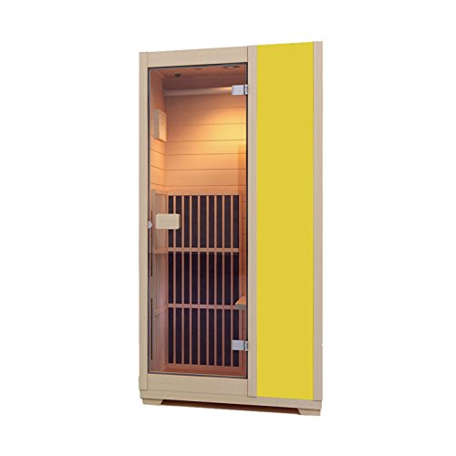 Zen 'Brighton' Mini-Sauna, 1 Platz, Infrarot, kompakt und modular, aus Holz, aus kanadischem Hemlockholz, verfügbar in 7Farben gelb
